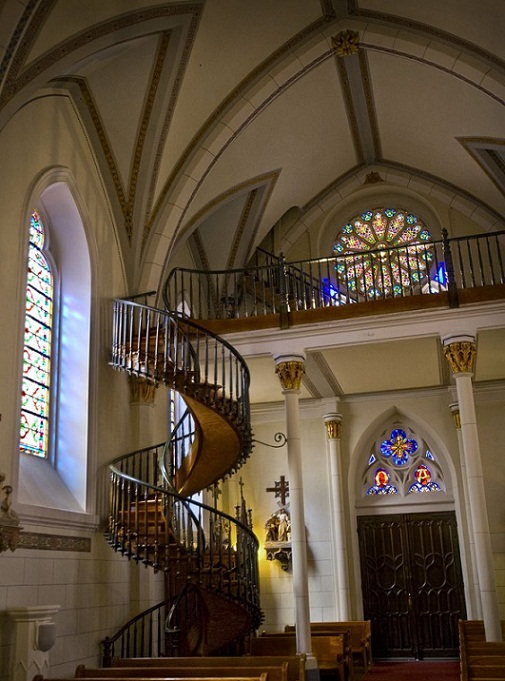 The Miraculous Staircase at Loretto Chapellocated at the Inn and Spa at Loretto. No one knows how it was builtor who did the building. Legend has it that it was built by St. Josephthe patron saint of carpenters.