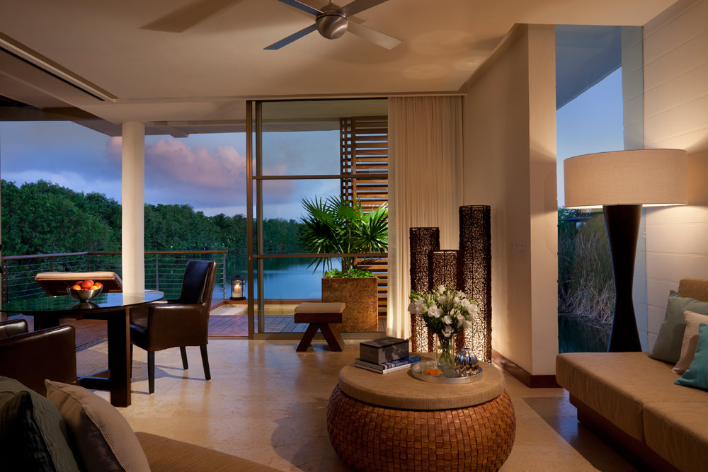 Overwater Lagoon Living Area at Rosewood Mayakoba Quintana RooMexico