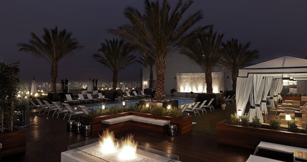 Rooftop pool of the London West Hollywood in Los AngelesCa