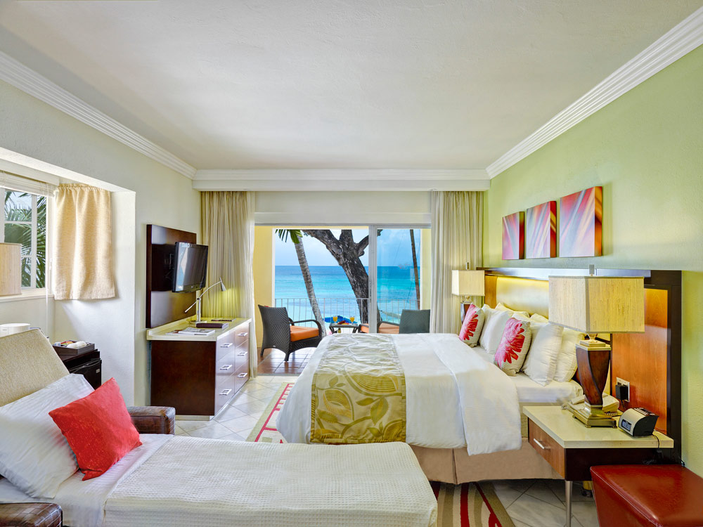 Ocean Front Room with Sleeper Sofa at Tamarind Cove Hotel | St James, Barbados, West Indies