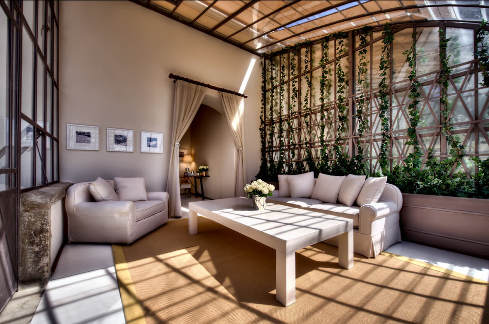 Green House Suite Living Area at Hotel ll Salviatino FlorenceItaly