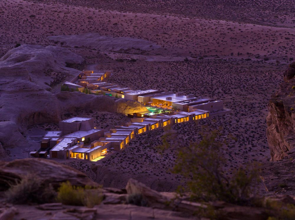 Exterior full view at night - The Amangiri in Canyon Point, Southern Utah courtesy of Amanresorts