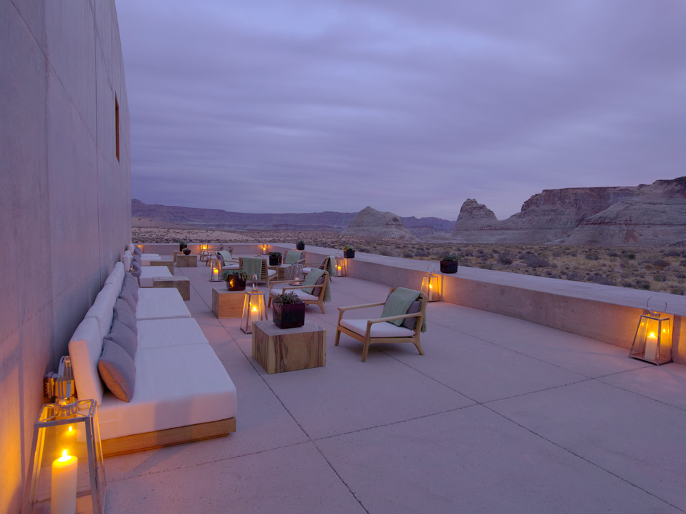 Desert lounge at dusk at Amangiri in Canyon Point, Southern Utah courtesy of Amanresorts