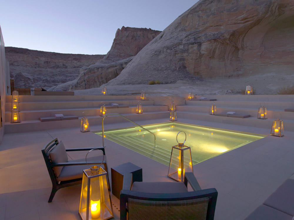Aman Spa Step Pool at Dusk at Amangiri in Canyon Point, Southern Utah courtesy of Amanresorts