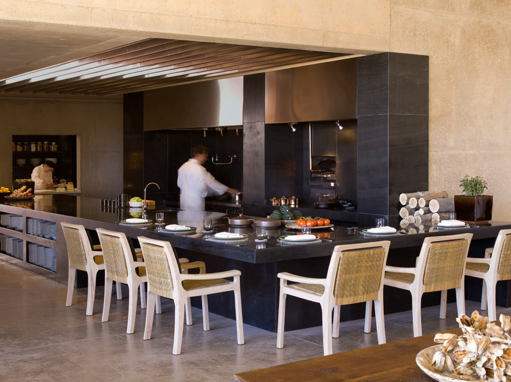 Dining Room Open Kitchen at Amangiri in Canyon Point, Southern Utah courtesy of Amanresorts