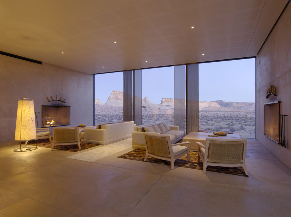 The Amangiri Living Room at Amangiri in Canyon Point, Southern Utah courtesy of Amanresorts