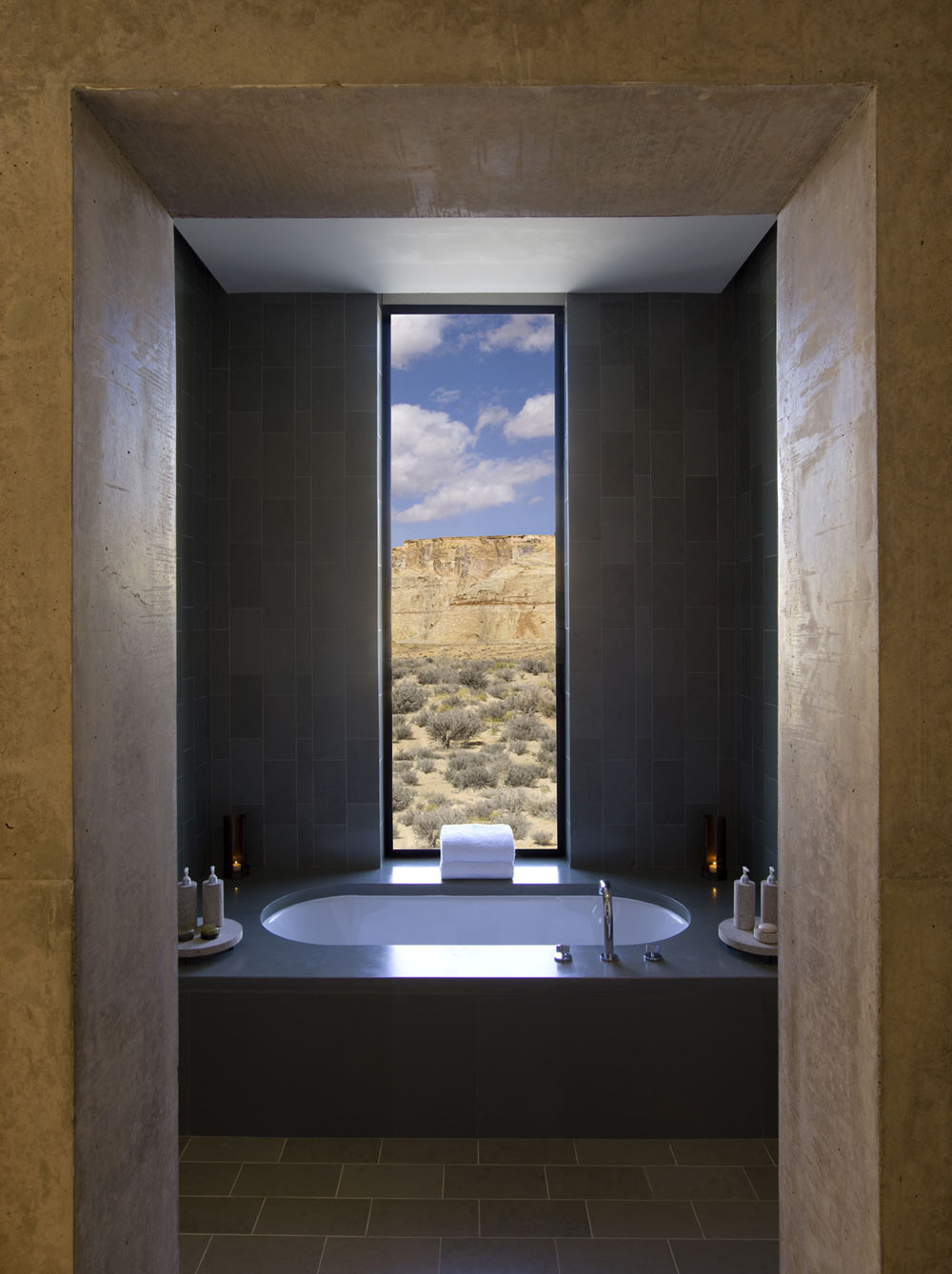 View from the bathroom of a Mesa View Suite at Amangiri in Canyon Point, Southern Utah courtesy of Amanresorts