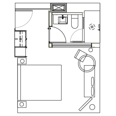 Corner Studio guestroom floorplan at the James New York Soho Hotel