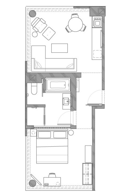 One Bedroom Apartment Floorplan at the James New York Soho Hotel
