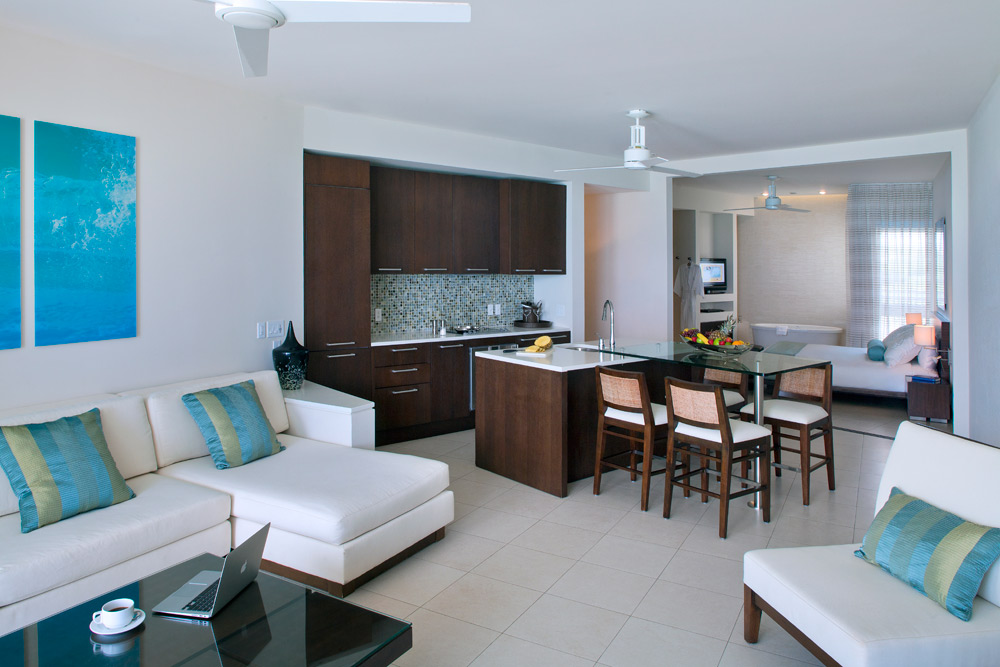 Luxury One Bedroom Suite Dining and Living at Gansevoort Turks and Caicos, Providenciales, Turks & Caicos Islands