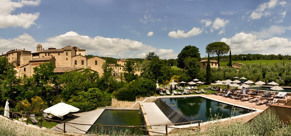 Outdoor pool at Castel Monastero in SienaItaly