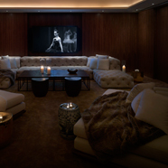 Public Hotel Chicagothe Screening Room Back Room hosts comfortable lounges and intimate seating around a screen.