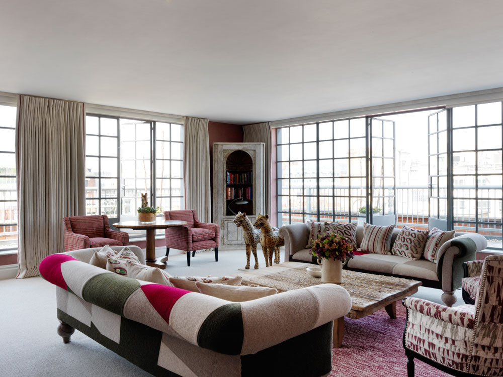 Suite Living Area at Soho Hotel LondonUK