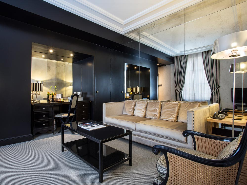 Coco Suite Living Room at Castille Paris