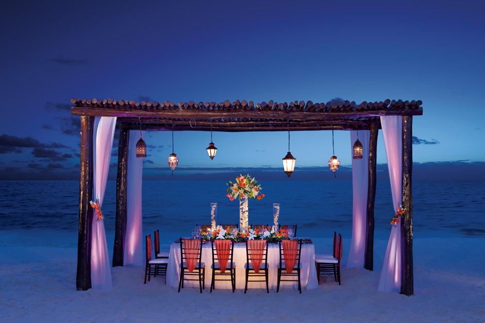 Private dinner on the beach at Secrets Capri Riviera Cancun in Playa Del CarmenMexico