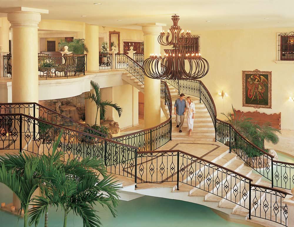 Grand lobby staircase at Secrets Capri Riviera Cancun in Playa Del CarmenMexico