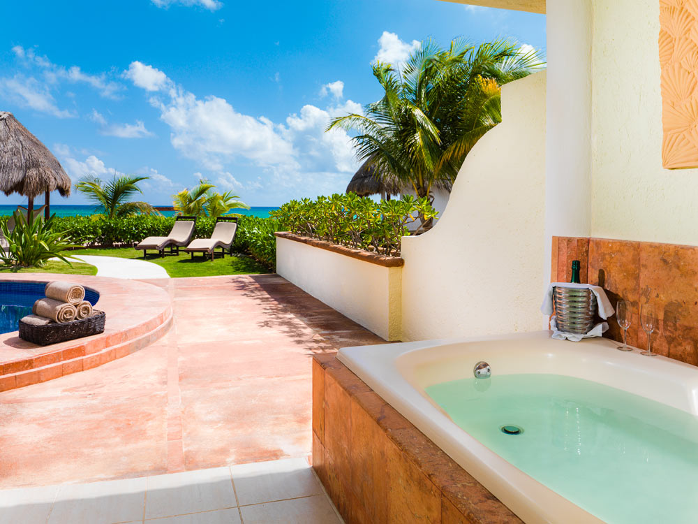 Presidential Suite Coba Outdoor Jacuzzi at El Dorado Royale Spa Resort