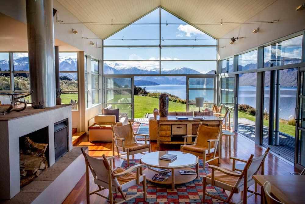 Lounge Area with Views of Lake Wanaka at Whare Kea