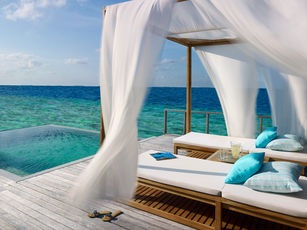 Private Deck of the Ocean Villa Complete with Private Pool at Dusit Thani Maldives