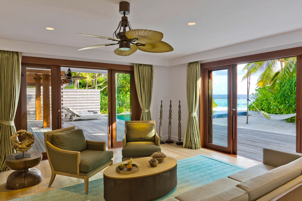 Lower Floor Beach Residence Family Room at Dusit Thani Maldives