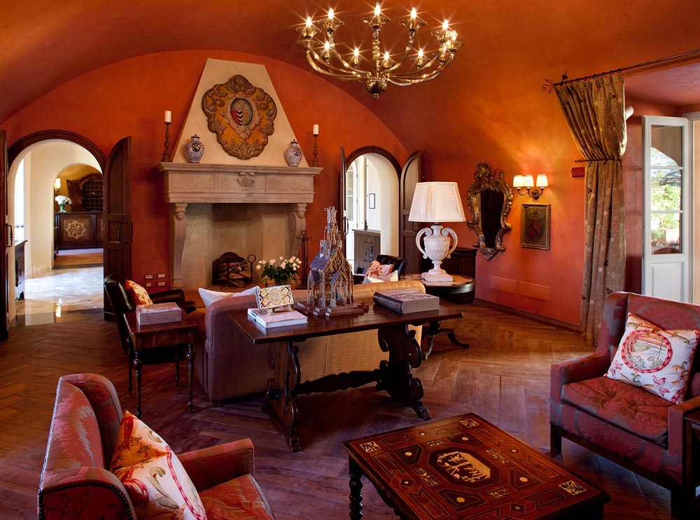 Library at Hotel Castello di Casole