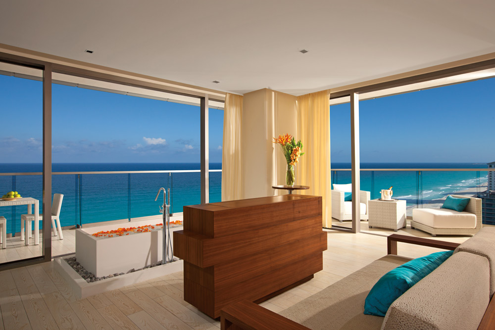 Honeymoon Suite offers panoramic views of the Caribbean at Secrets The Vine CancunMexico