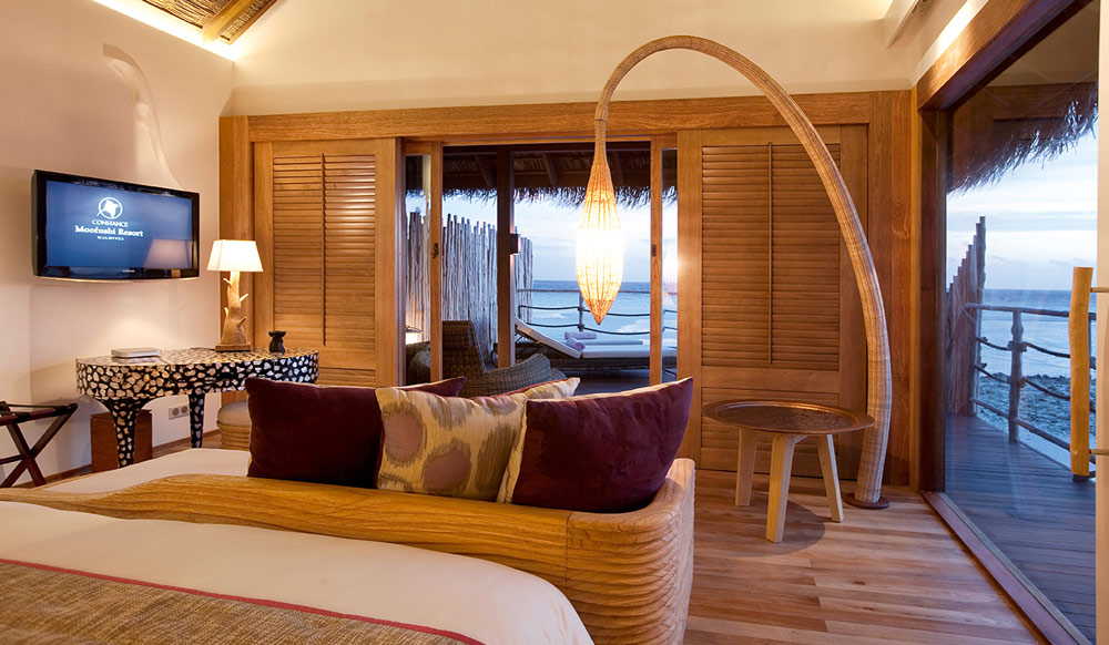 Constance Moofushi Resort Senior Water Villa Living Area.