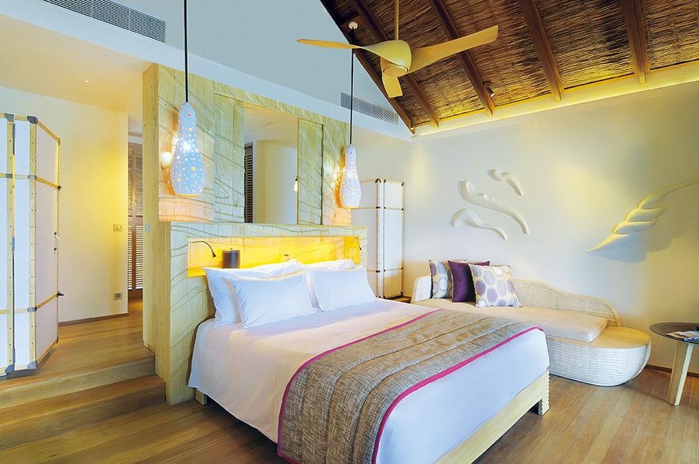 Constance Moofushi Maldives Water Villa Master Bedroom.