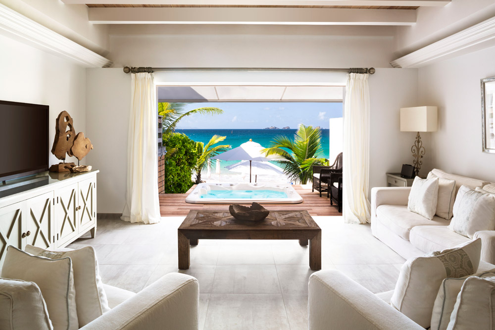 Beach Suite Living Room at Cheval Blanc Saint-Barth, French West Indies