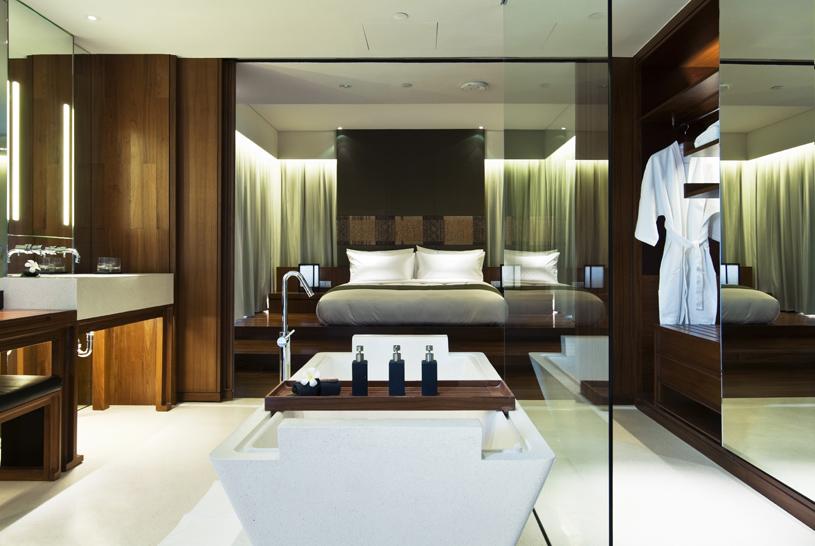 Hansar Bangkok Vertigo Suite Bedroom and Bathroom