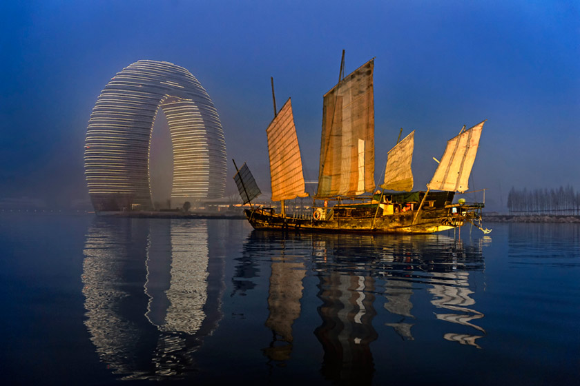 The Sheraton Huzhou Hot Spring Resorts Exterior at Dawn