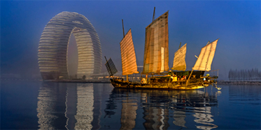 The Sheraton Huzhou Hot Spring Resort Exterior at Dawn