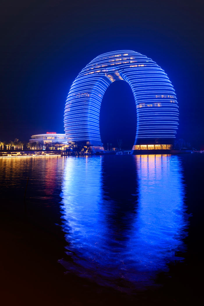 The Sheraton Huzhou Hot Spring Resorts Exterior at Night