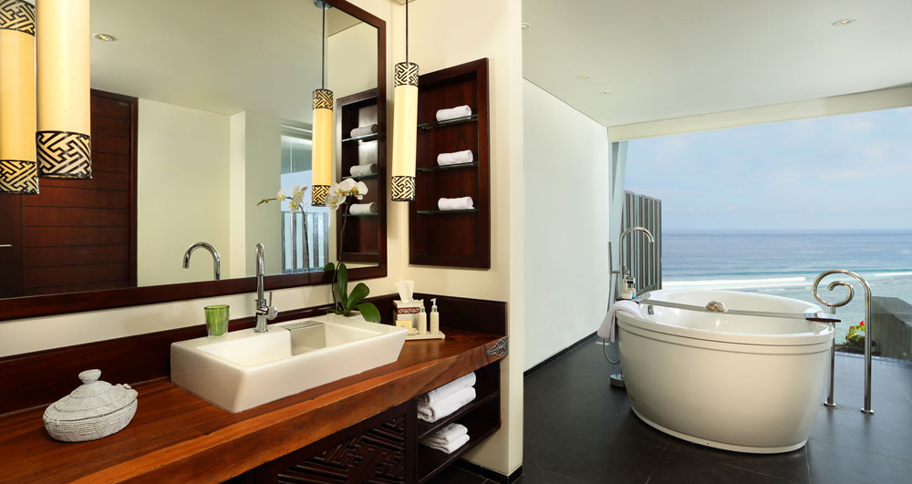 Ocean Front Suite Bath at Samabe Bali Resort and Spa