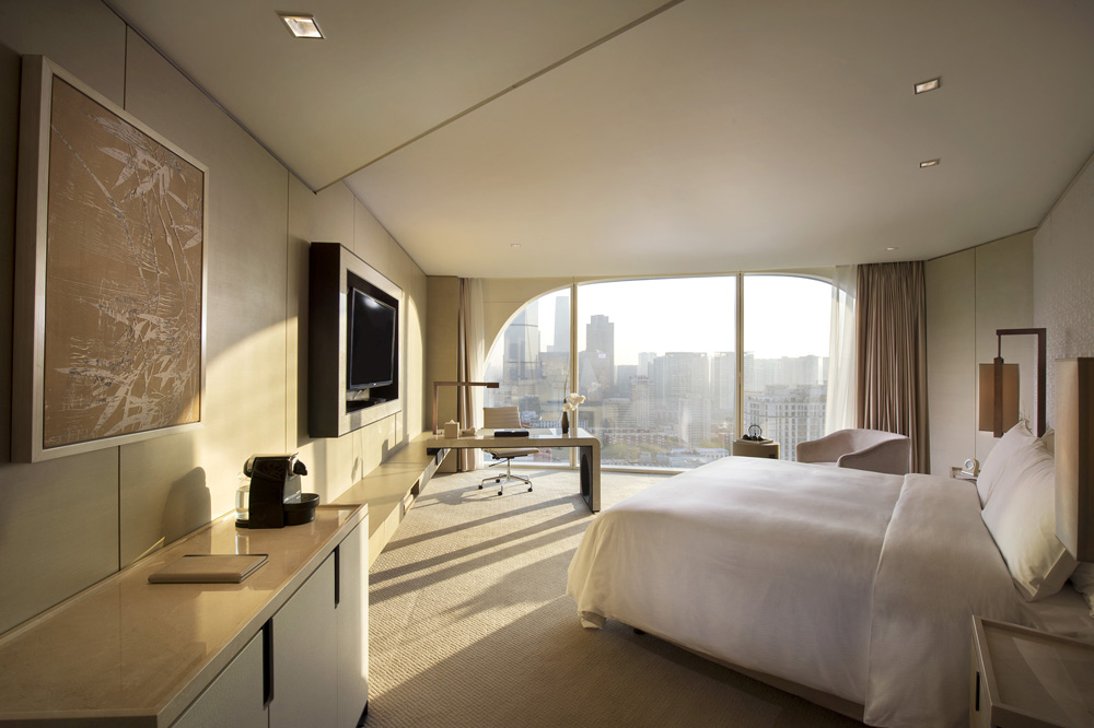 Private corner room with great city views at Conrad Beijing, China