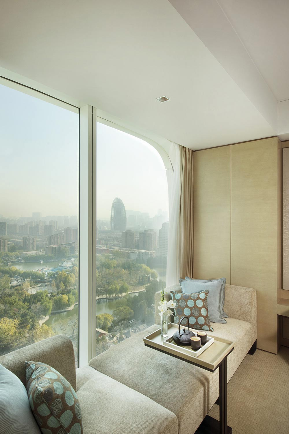 Deluxe room with a lake view at Conrad Beijing, China