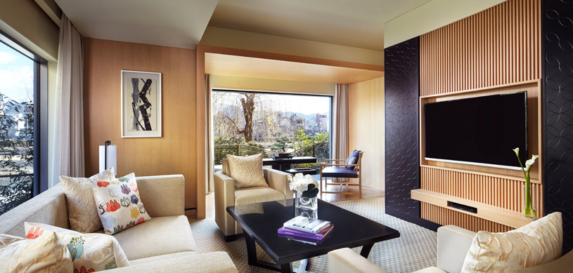 Corner Suite Kita Living Area at The Ritz Carlton Kyoto