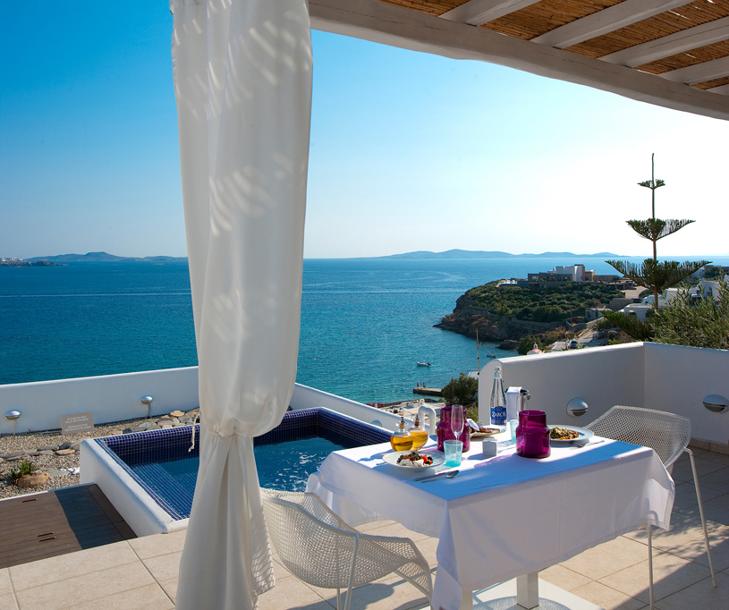 Honeymoon Suite Terrace and Plunge Pool at Grace Mykonos
