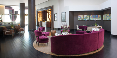 Lobby of Avenue of the Arts Wyndham HotelCosta MesaCA