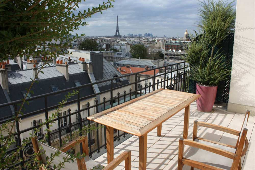 Terrace View from Hotel Le Littre in Paris