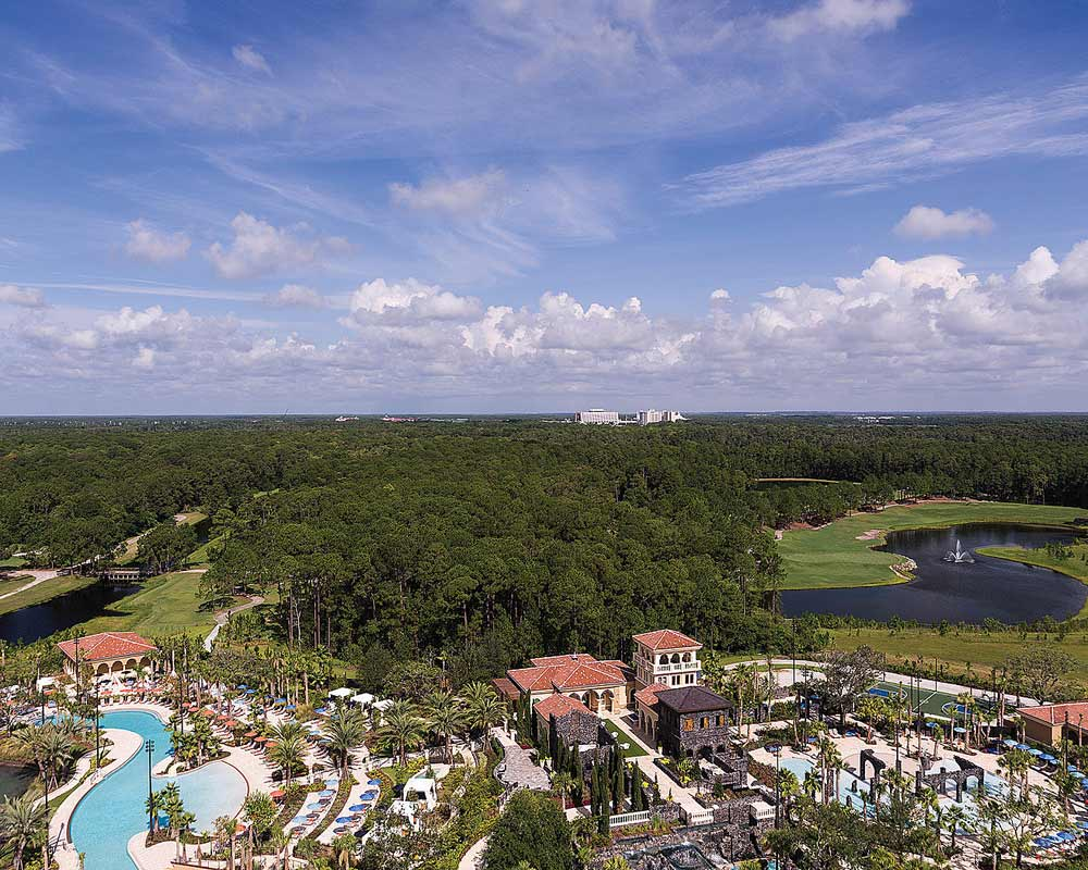 Aerial View of the Family Pool and Explorer Island at Four Seasons Orlando