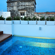 Rooftop Pool and Lounge at Tcherassi Hotel CartegenaColumbia