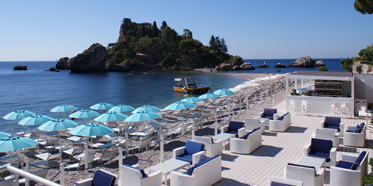 Beach Club Dining at La Plage Resort, Taormina, Messina, Italy