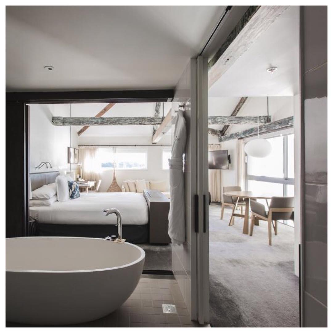 The bathroom to the bedroom in the Habour View Suite at the Pier One Sydney Harbour Hotel