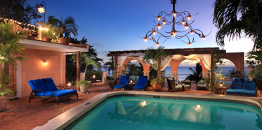 Pool Deck and Arches at Twilight at Little Arches Boutique Hotel, Christ Church, Barbados
