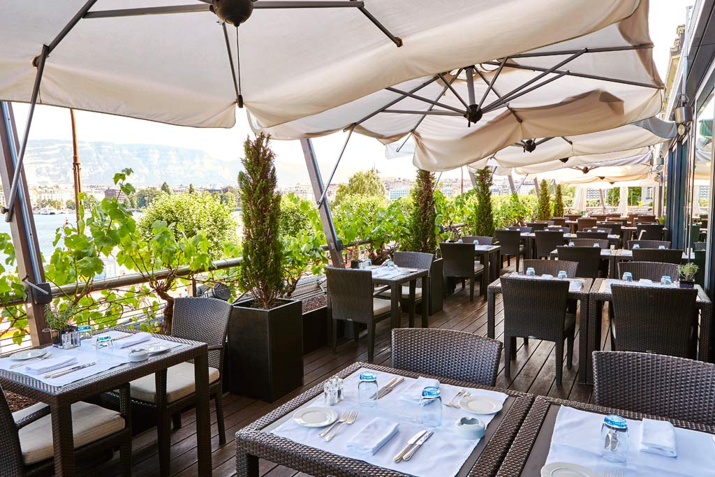 Terrace Lounge at Grand Hotel Kempinski Geneva, Switzerland
