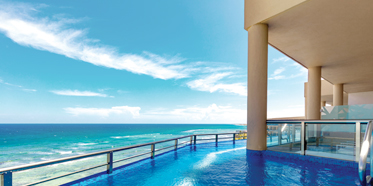 Oceanfront Infinity Pool Balcony at El Dorado Seaside Suites, Riviera Maya, Quintana Roo, Mexico
