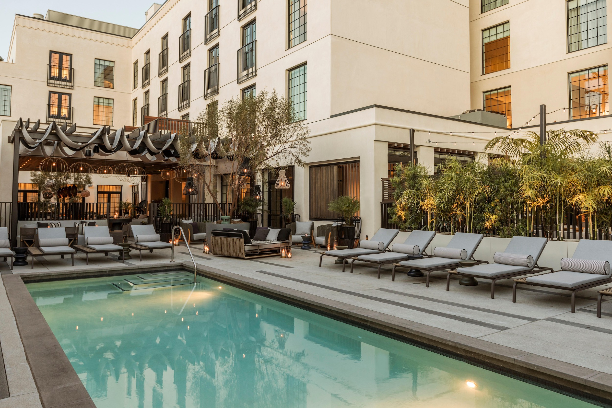 Pool courtyard at Kimpton La Peer Hotel, West Hollywood, CA