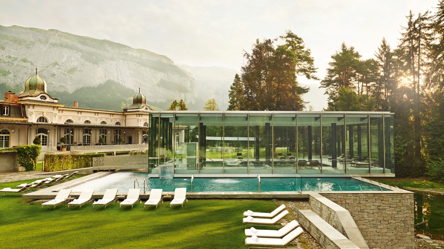 Waldhaus Flims Wellness Resort and Pool Area