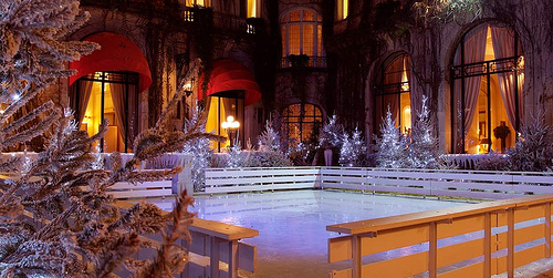 ice skating at Hotel Plaza Athenee